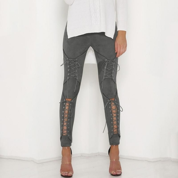 Faux Suede Lace-Up Leggings - Grey